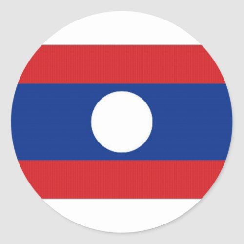 Laos National Flag Classic Round Sticker Lao Flag Personalized Custom National Flag