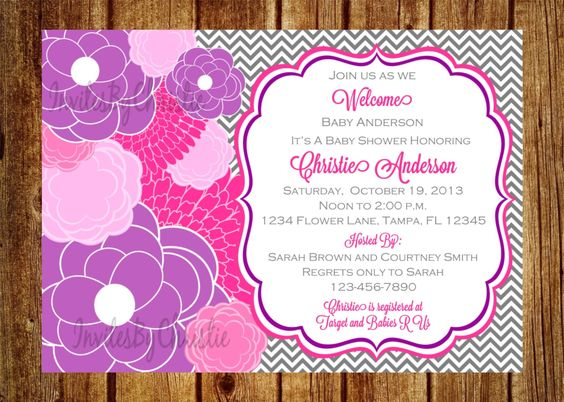 Purple Pink Floral Baby Shower Invitation by InvitesByChristie, $14.00
