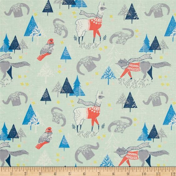 Dear Stella Snofall Winterscape Multi from @fabricdotcom  Designed by Rae Ritchie for Dear Stella Designs, this cotton print collection features whimsical winter and tribal themes. Perfect for quilting, apparel, and home decor accents. Colors include mint green, shades of blue, pink, coral, grey, and white.