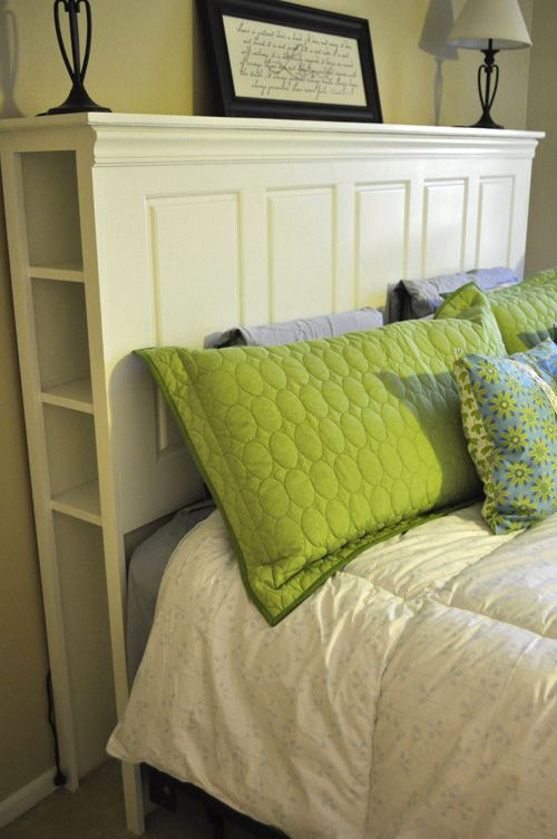 Awesome headboard with cubbies art architecture for How to make a headboard out of a door