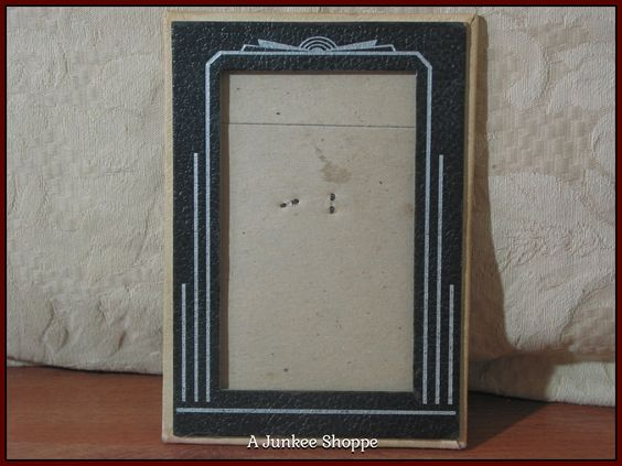 PICTURE FRAME Antique Stand Alone Textured Cardboard 5 X 3 Photo Enclosure Used  P732  http://ajunkeeshoppe.blogspot.com/