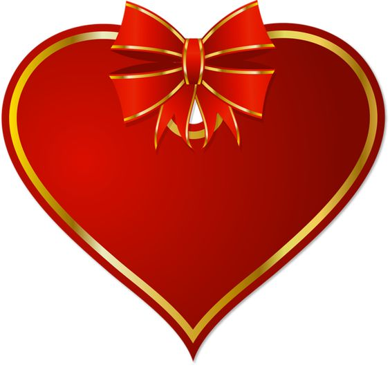 Red PNG Heart with Red Bow Clipart