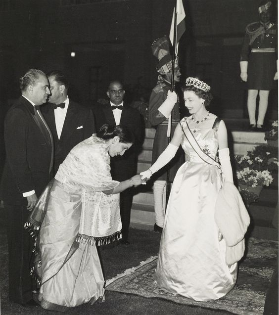 Queen Elizabeth II receiving a Pakistani woman at the President's House in Karachi. 1961.
