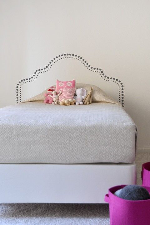 Ava headboard vinyls faux headboard and guest rooms for Faux headboard ideas