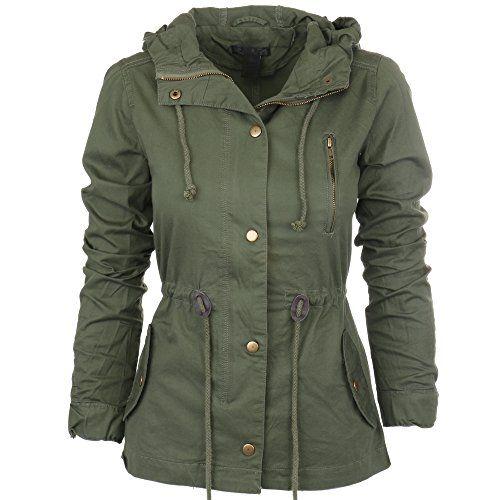 Womens Fashion Lightweight Button Down Hoodie Safari Jacket Green