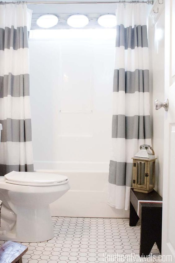 love the floor tile... Nautical Guest Friendly Boys Bathroom Makeover Reveal - Southern Revivals