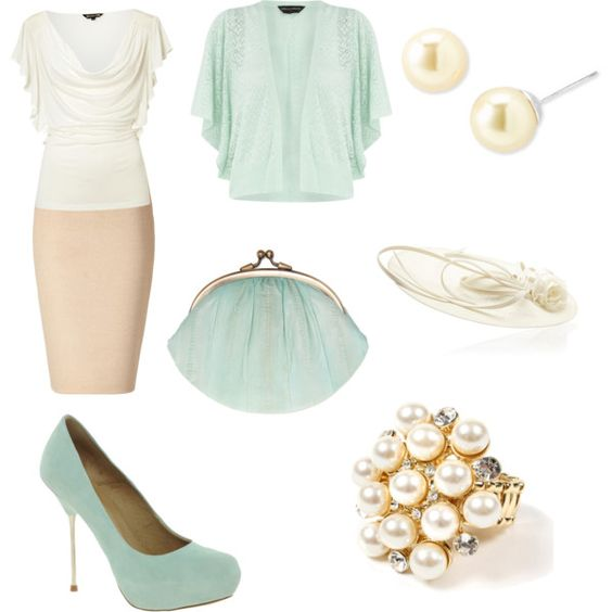 Sea Foam & Cream Dressy Outfit, created by dani-stephan on Polyvore