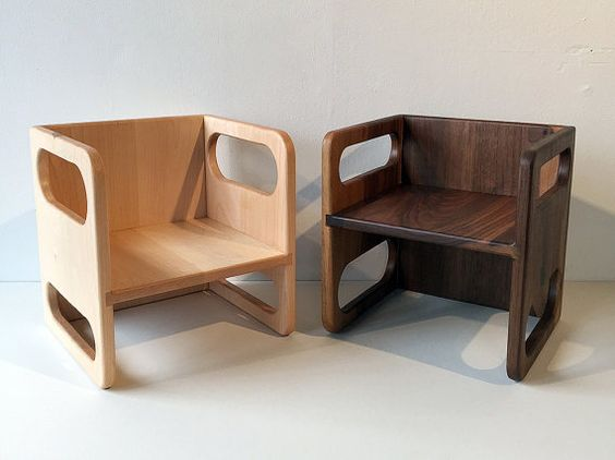 Our Ella Adams Montessori Cube Chairs are made out of solid walnut or maple.  The Montessori cube chairs are versatile and offer many ways for