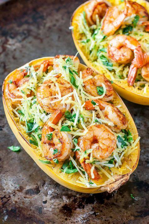 Pesto Parmesan Spaghetti Squash with Shrimp