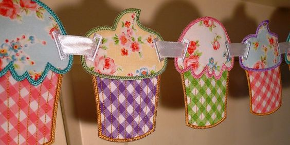 Cupcake Banner In The Hoop Banner Machine Embroidery Design Applique Patterns all done In-The-Hoop 2 variations 5 sizes 4, 5, 6, 7, 8 via Etsy