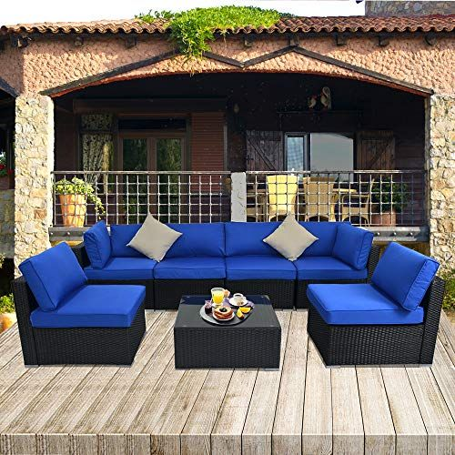 Jetime Patio Sectional Sofa Outdoor Black Rattan Couch Set Free Rain Cover Wicker 7pcs Sectional Conv Blue Patio Furniture Sectional Patio Furniture Blue Patio