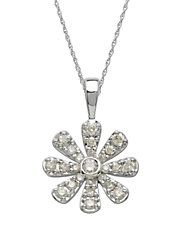 14Kt. White Gold and Diamond Flower Pendant Necklace