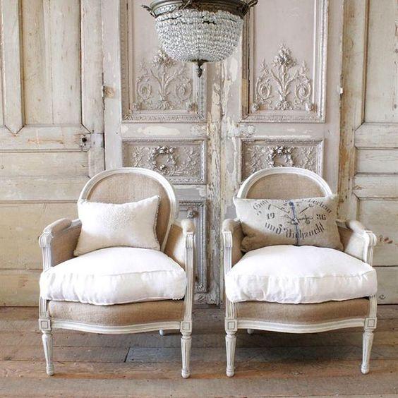 Pair of vintage lovelies... Burlap and linen bergeres #bergeres #vintage #original #antiques #louisxvi