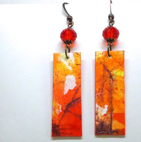 Watercolor Earrings, Paint on Paper, First Anniversary Gift, Paper Earrings, Paper Gift by bluegatorjewelry on Etsy