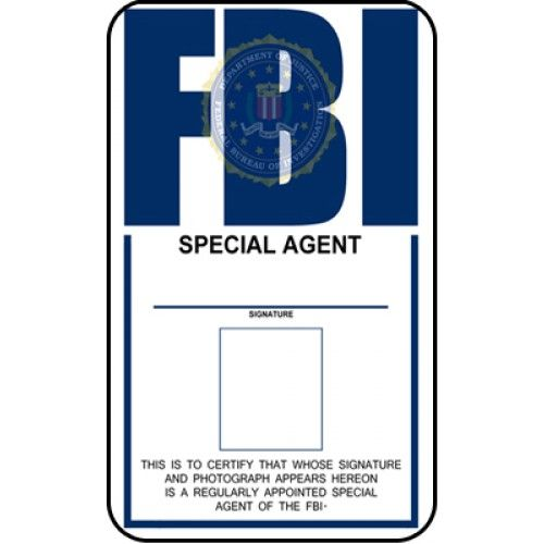 fbi id template fbi identification card from the identity props store detective cosplay. Black Bedroom Furniture Sets. Home Design Ideas