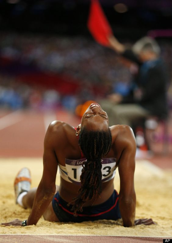 Britain's Shara Proctor reacts after taking a jump in the women's long jump final during the athletics in the Olympic Stadium at the 2012 Summer Olympics, London, Wednesday, Aug. 8, 2012.