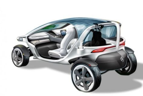 Solar powered golf cart concepts that show the little cart is on a big road