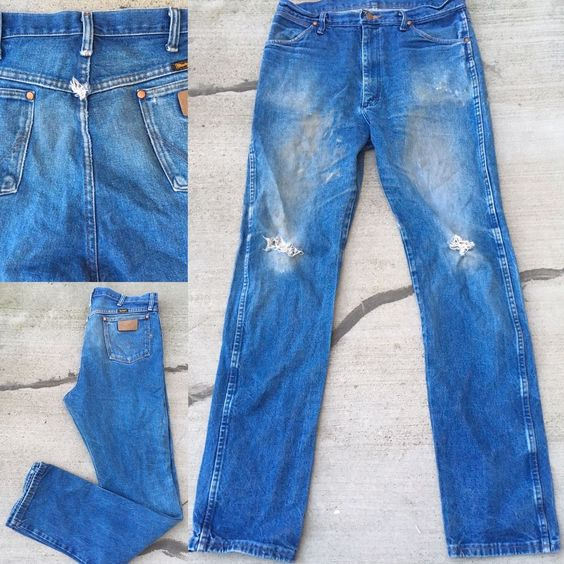 Details about Wrangler Jeans Naturally Distressed Worn Torn ...
