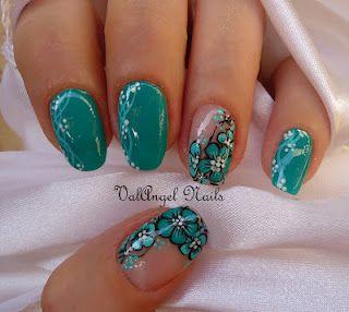"ValAngel Nails Art: Nail art ""green flowers"""