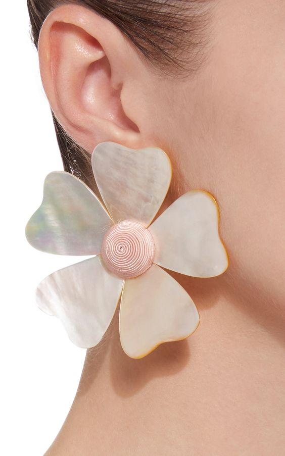 Mother Of Pearl Flower Earrings by REBECCA DE RAVENEL Now Available on Moda Operandi