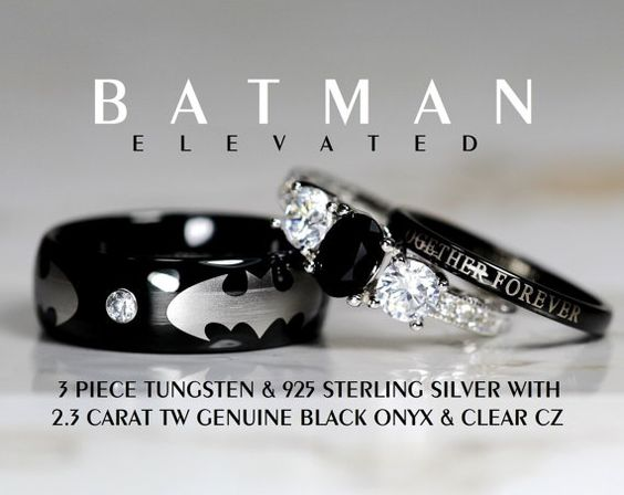 Hey, I found this really awesome Etsy listing at https://www.etsy.com/listing/238149703/batman-3-piece-tungsten-925-sterling