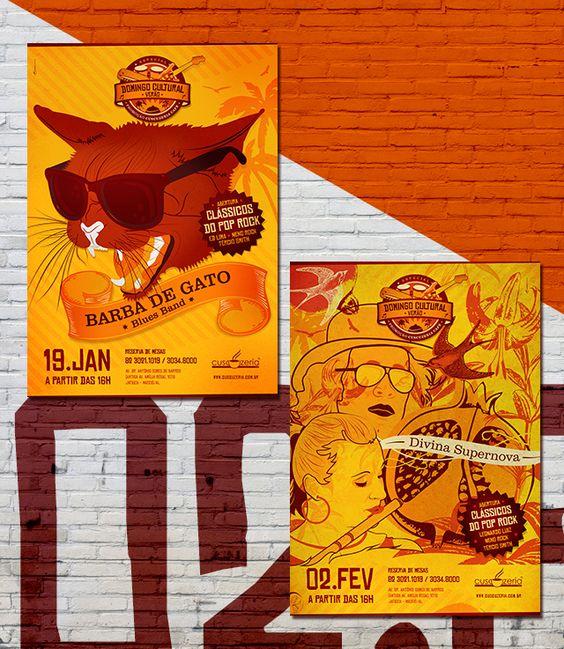 Cartazes Domingo Cultural da Cuscuzeria Café: Edição Especial Verão Barba de Gato e Divina Supernova.