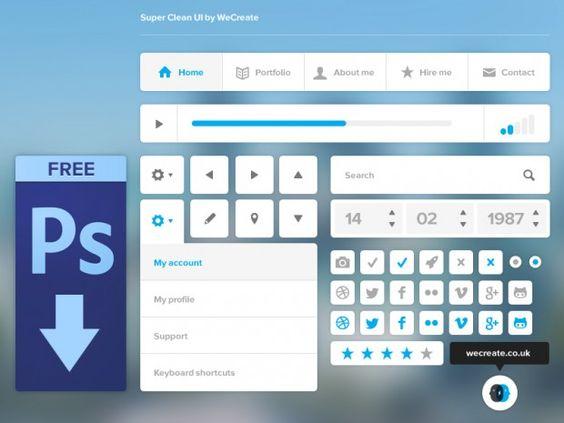 Super Clean #UI Kit,  #Buttons, #Checkbox, #Datepicker, #Dropdown, #Free, #Icon, #Menu, #Navigation, #Player, #Progress, #PSD, #Radio, #Resource, #Search #Field, #Social #Media, #Vector