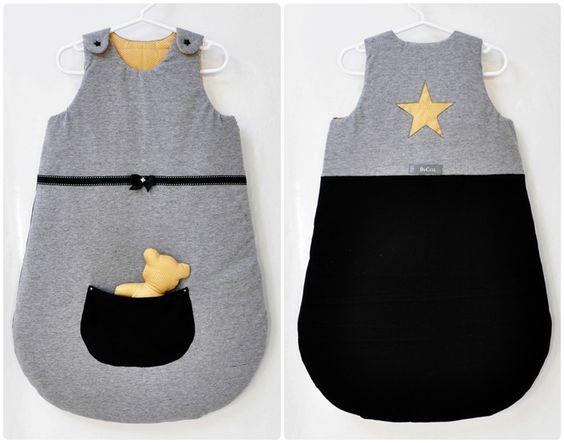 gigoteuse turbulette avec poche doudou grise jaune et noir the imaginary baby. Black Bedroom Furniture Sets. Home Design Ideas