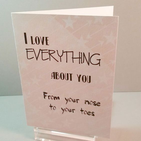 I Love Everything About You Greeting Card Handmade Card Funny Card Love Card For Husband Wife