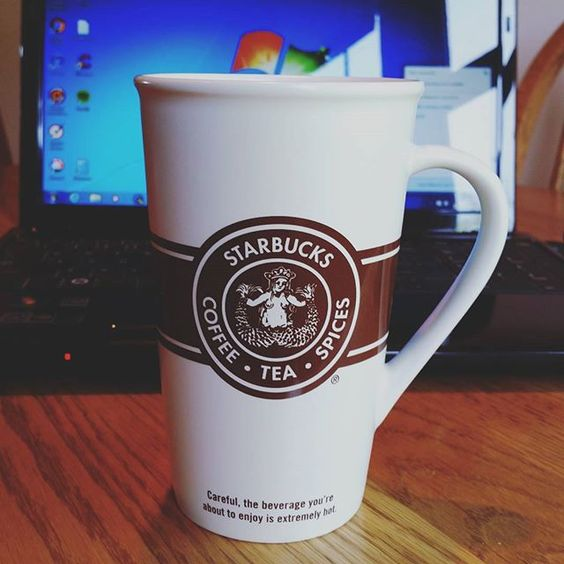 Loving my new #starbucks mug that my family picked up in Seattle. The original design. ☕ #oldschool #original #coffee #coffeemug: