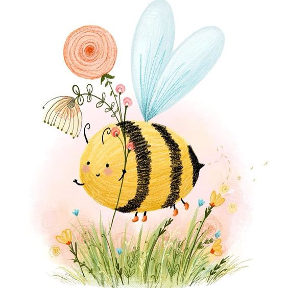 Bee in boots! #bee #illustration #cute #flowers