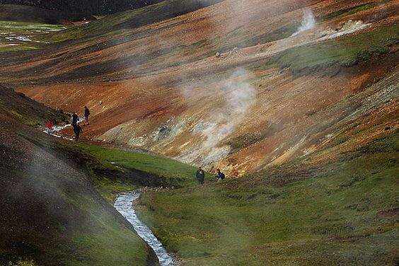 Storihver - walk through the valley of geothermal springs and fumarol Storihver.Iceland