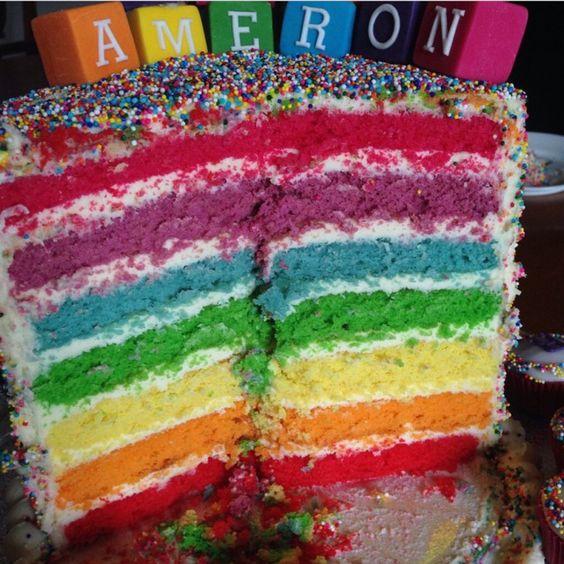 Inside rainbow cake