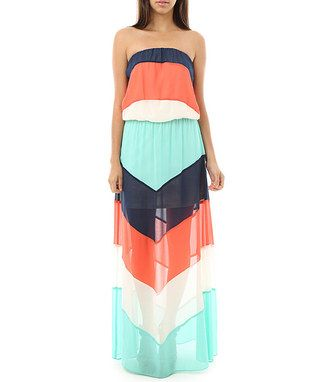 Coral & Navy Semi-Sheer Chevron Strapless Maxi Dress