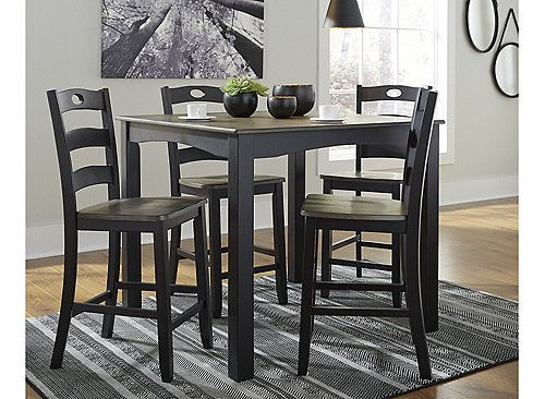 With Its Unique Blend Of Soft Black With Grayish Brown The Tenley 5 Piece Cou Tall Kitchen Table Counter Height Dining Room Tables Counter Height Dining Table