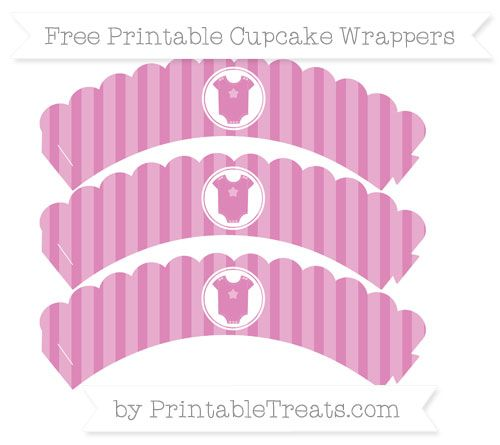 Free Pastel Fuchsia Striped  Baby Onesie Scalloped Cupcake Wrappers