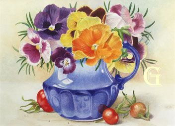 Fillipa Whitford, watercolour painting, Pansies in a Blue Jug