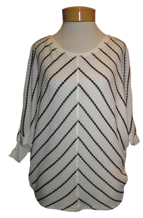 Velvet Sita Chevron Striped Top Velvet's Chevron Striped top is so pretty! This soft, textural weave in a beautiful tunic length with 3/4 sleeves looks modern and smart. This creamy background is the perfect neutral with its splash of modern black diagonal stripe. As cute as can be with sexy denim or leggings! LOVE LOVE LOVE this top! http://www.melange4women.com/vesistrathto.html