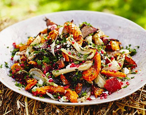 Roasted Harvest Veggie Salad with pomegranate | Jamie Oliver | #recipe #Healthy @xhealthyrecipex |