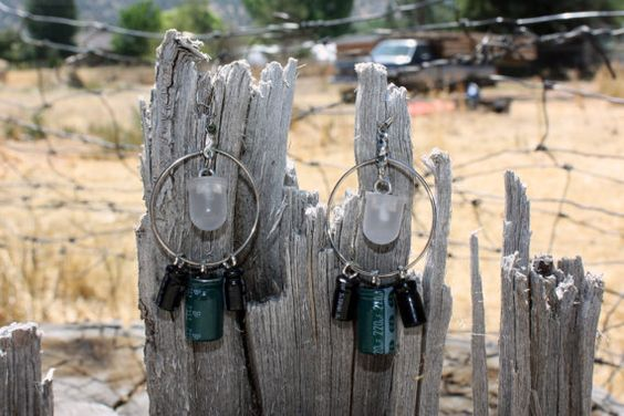 Upcycled/Recycled Resistor and Bead Earrings by ItsBitsNBytes