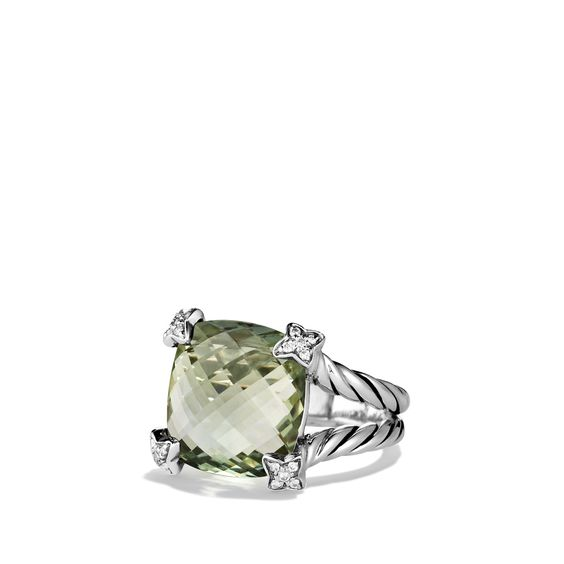 Yurman Cushion On Point Ring with Prasiolite and Diamonds