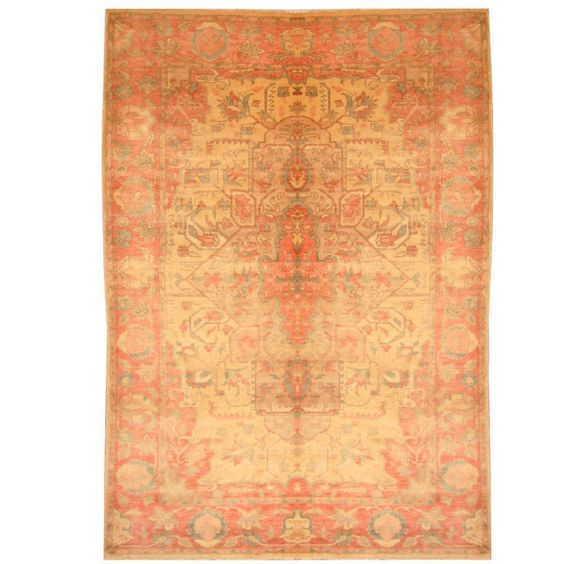 With+a+distinctive+style,+a+gorgeous+area+rug+from+Egypt+will+add+some+splendor+to+any+decor.+This+area+rug+is+hand-knotted+with+a+geometric+pattern+in+shades+of+beige,+rose,+green,+and+gold.