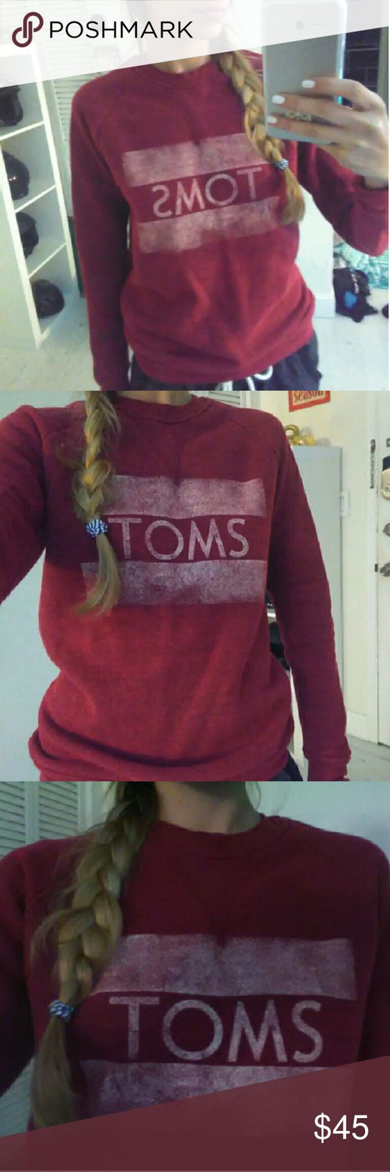 TOMS not so ugly Christmas sweater xmas maroon red Burgundy maroon toms sweatshirt, size xs TOMS Sweaters Crew & Scoop Necks