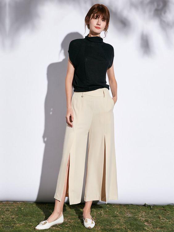 Shop Wide Leg Pants - Khaki Simple Solid Polyester Wide Leg Pant online. Discover unique designers fashion at StyleWe.com.