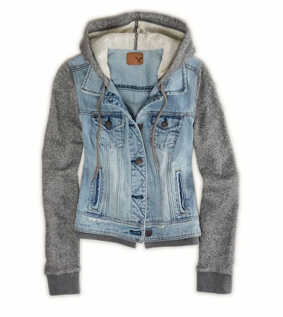 NWT American Eagle AE Women's Denim Vested Hooded Hoodie Jacket ...