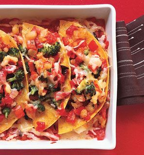 Cheesy Shrimp Enchilada Bake: Sauce  1 can (14.5 oz) diced tomatoes  1/2 cup Onion and Garlic Mix  4 chipotle chiles, finely diced  1/4 teaspoon salt  Enchiladas  3 corn tortillas, halved  3/4 cup Broccoli and Red Bell Pepper Mix  1 cup Lime Shrimp  1 cup 75% fat-free cheddar (4 oz), shredded