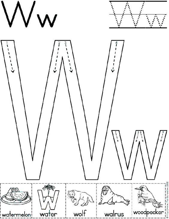 Alphabet Letter W Worksheet | Standard Block Font | Preschool ...