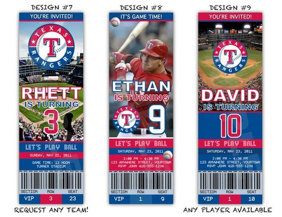 Ranger ticket party invitations, these are awesome!!