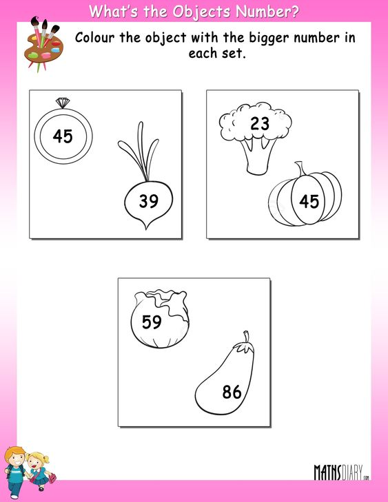 Color the object with bigger number - Math Worksheets - MathsDiary.com
