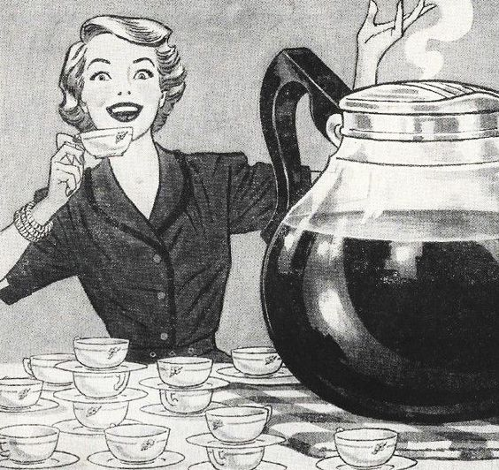 Mother's 'Little' Coffee Break - no wonder her home is so spotless! ~ 1953 ad.: